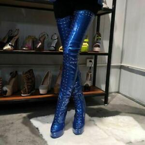 Plus-SUPER-Women-Over-Knee-Boots-Platform-Heels-Boots-Black-Shoes-Plus-Size-4-20