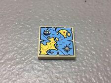 NEW LEGO Pirate Minifig TREASURE MAP 2x2 TILE Tan, Yellow & Blue w/Ship