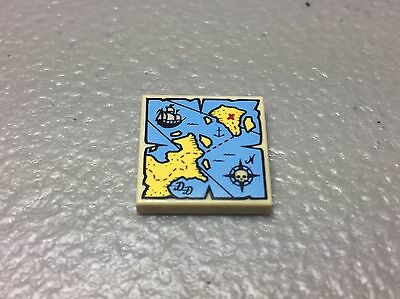 ☀️NEW LEGO Pirate 2x2 Round Decorated TILE Tan w// Nautical Treasure Map Pattern