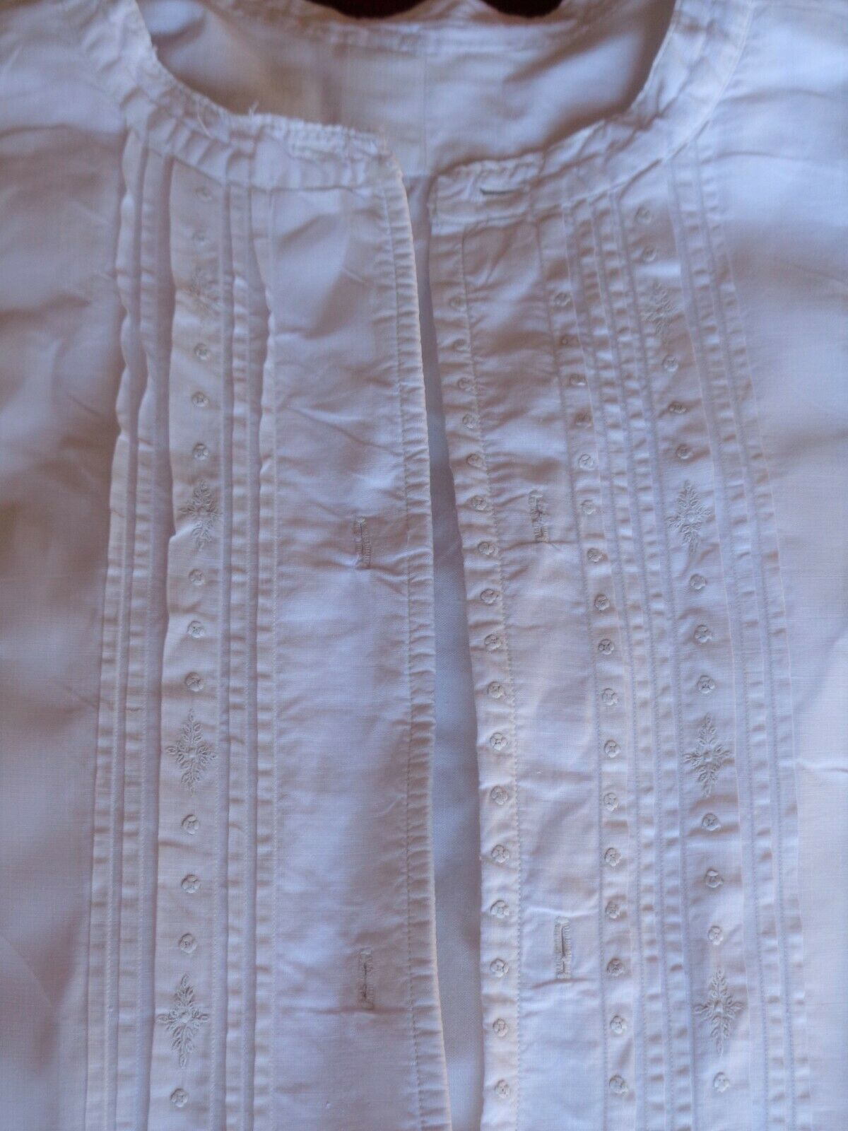 Vintage French Pure Crisp Cotton 1940`s Dress Grandad Shirt Embroidery 3 of 3
