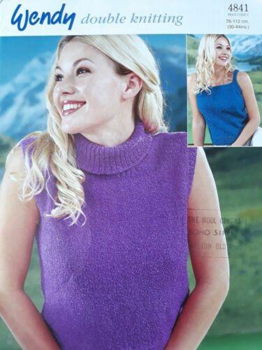 "Wendy Knitting Pattern 4841 Ladies Sleeveless Vest Top Sweater 30-44/"" Cotton DK"