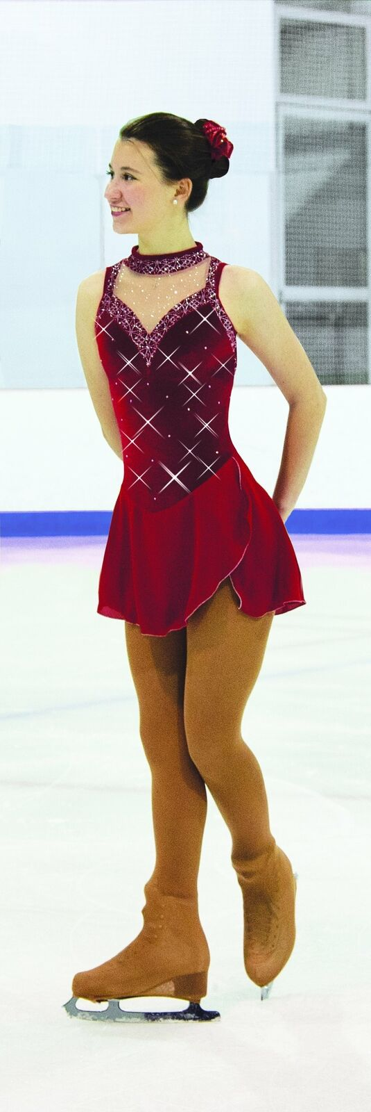 Jerry's 139 Ruby Crystals Ice Figure Skating Dress