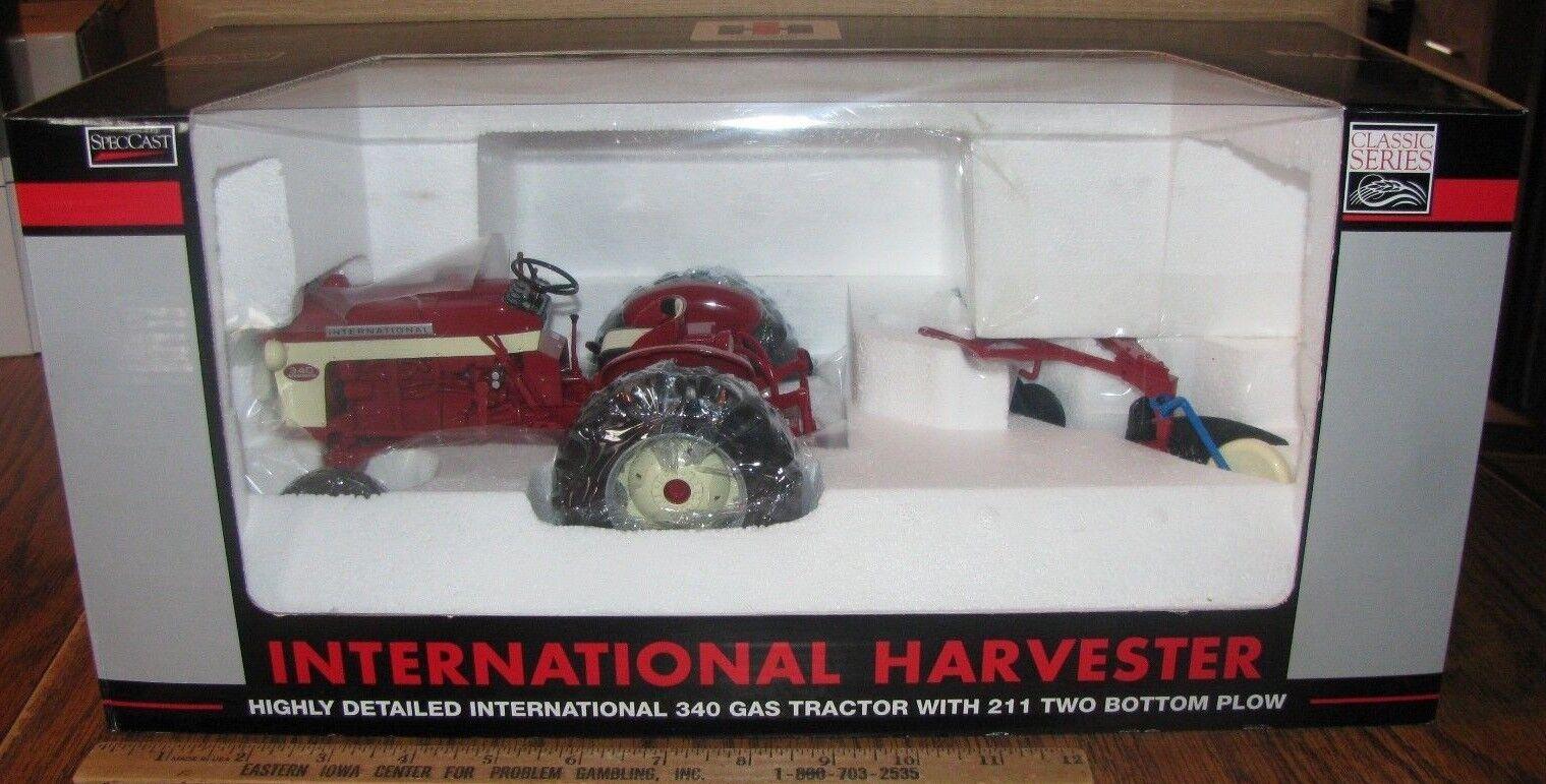 Ih internacional 340 utilidad Tractor con 211 dos inferior Arado 1 16 Spec Cast Juguete