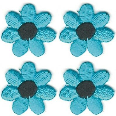 "3//4/"" Blue Turquoise Petal Black Center Flower Embroidery Patch Lot of 4"