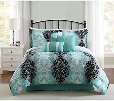 NEW Downton 7-Piece Comforter Set BEDDING SHAMS Aqua/Gray/Black FULL/QUEEN SIZE