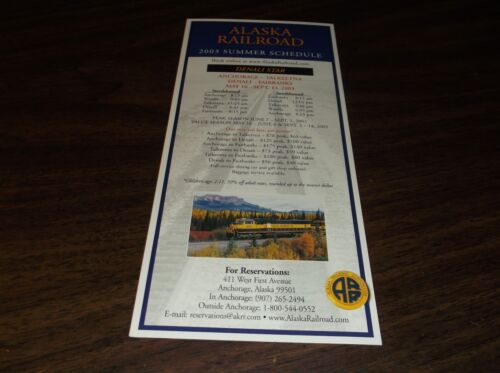 2003 ALASKA RAILROAD SUMMER SCHEDULE