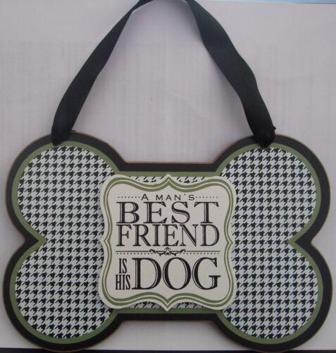 """Plaque en bois /""""un homme du meilleur ami est son chien/"""" boxed prêt pour un cadeau"""
