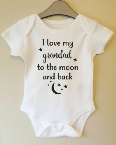 I LOVE MY GRANDAD TO THE MOON AND BACK CUTE POPS PAPPA BABY BODY VEST BABY GRO