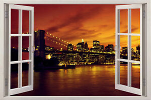 Image Is Loading 3D Window New York City Skyline Brooklyn Bridge  Part 88