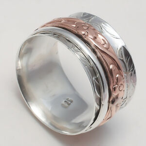 Solid-925-Sterling-Silver-Spinner-Ring-Meditation-Statement-Ring-Size-ss5492