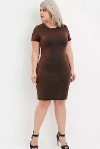 Details about NWT New Forever 21+ Plus Size Metallic Knit Dress Black  Copper 1X
