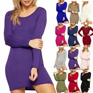 Womens Plain Top Basic Stretchy Long Sleeves Jersey Bodycon Ladies MIni Dress