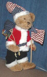 Patriotic-Christmas-SANTA-BEAR-US-FLAG-13-5-034-tall-Americana-Holiday-Home-Decor