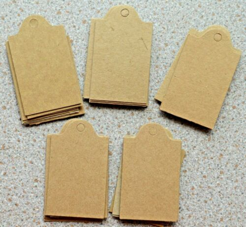 50 Kraft Card Gift Tags 60mm x 35mm with Hole Punched NEW