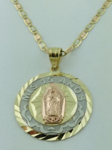 14K Solid Gold VIRGEN DE GUADALUPE Mis 15 ANOS pendant with VALENTINO Necklace