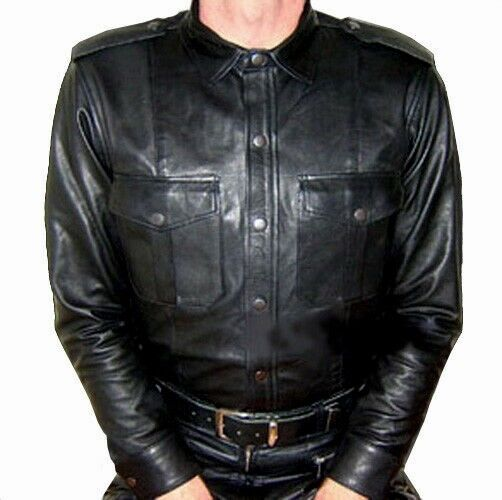 Pelle Camicia Manica Lunga Nuovo Nero in Pelle Camicia Leather Shirt Long sleevess nero cuir