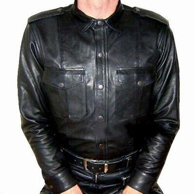 Details zu Lederhemd neu Hemd Leder SCHWARZ oder WEISS leather shirt auch Lederfutter