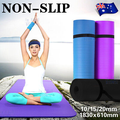 Details about  /NBR Yoga Mat 10 15 20 Thick Pad Nonslip Exercise Fitness Pilate Gym Mesh Bag