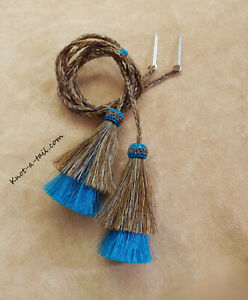 horsehair, stampede string, chin strap, cotter-pin, Cinnamon / turquoise tassels