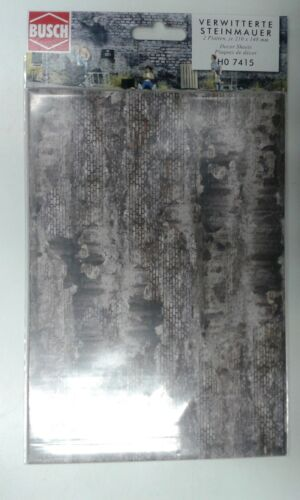 free post F1 - 3 x 2 decor sheets Weathered industrial stone wall Busch 7415