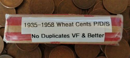 1935-1958 LINCOLN WHEAT CENT ROLL ~ P//D//S ~ VERY FINE /& BETTER ~ NO DUPLICATES!