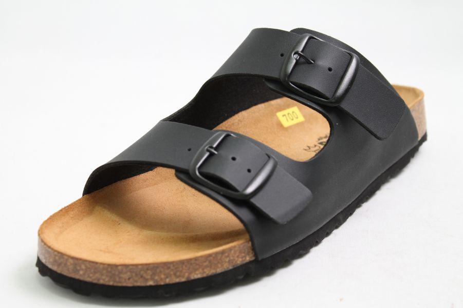 Longo Pantoletten schwarz Hightech komfort Lederfußbett