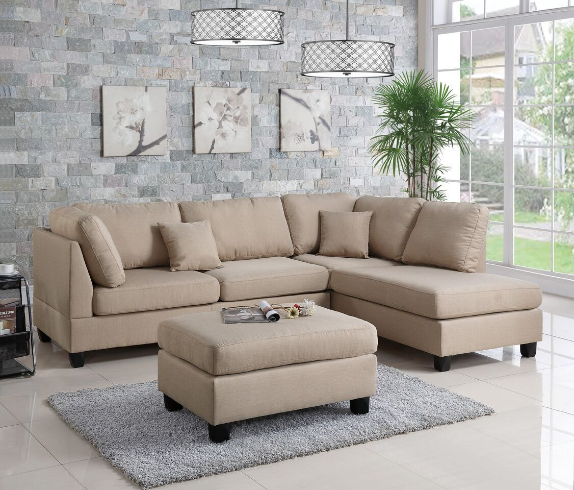 Sand Color Polyfiber 3pc Sectional Set Sofa Chaise Ottoman Plush Living Room
