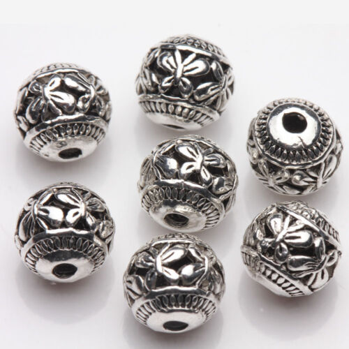 10X Silver Plated Hollow Out Butterfly Carving Spacer Loose Bead Roundish 8mm
