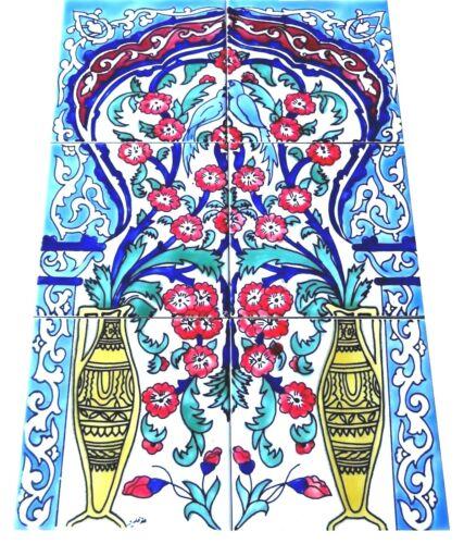 Handbemalte Fliesen Fliesenbild orientalische Fliesen Vögel Blumen Kunst Mosaik