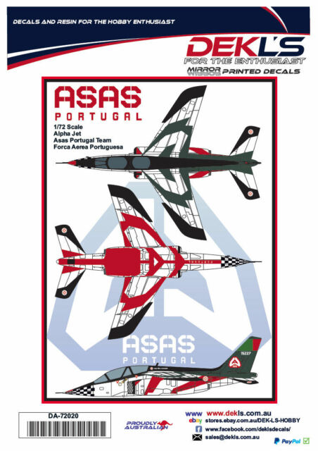 Decals Alpha Jet - Asas Portugal Aerobatic Team - 1/72 Scale