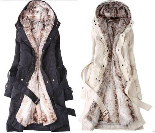 HOT Women Thicken Fleece Faux Fur Warm Winter Coat Hoodies Parka Overcoat Jacket