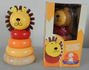 WOODEN LION STACKER GAME EDUCATIONAL FUN DEVELOP MOTOR SKILLS