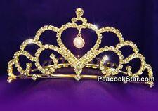 Bridal Wedding Flower Girl Heart Rhinestone Gold Tiara Comb