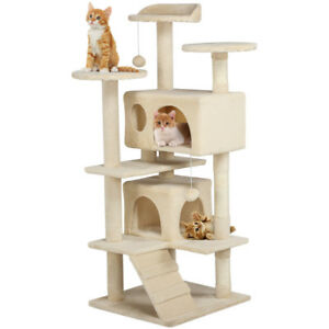 Cat-Tree-Furniture-Kitten-House-Play-Tower-Scratcher-51-034-Beige-Condo-Post-Bed