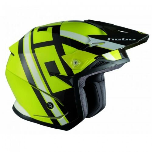 New Adult 2018 Hebo ZONE 5 T-NINE LIME POLYCARB Visor Trials Helmet S M L XL