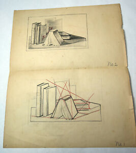 17-034-Antique-1920s-Pencil-Sketch-Drawing-Mrs-Lester-Bennett-Old-Books-Study