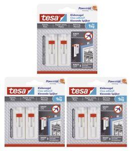 Tesa Powerstrips Klebenagel für Tapete /& Putz verstellbar  bis 2kg 77777
