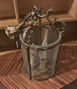 Rare Tres Ancienne Lampe Suspension Lustre Verre Bronze Art Deco Nouveau Boat Diversifié Dans L'Emballage