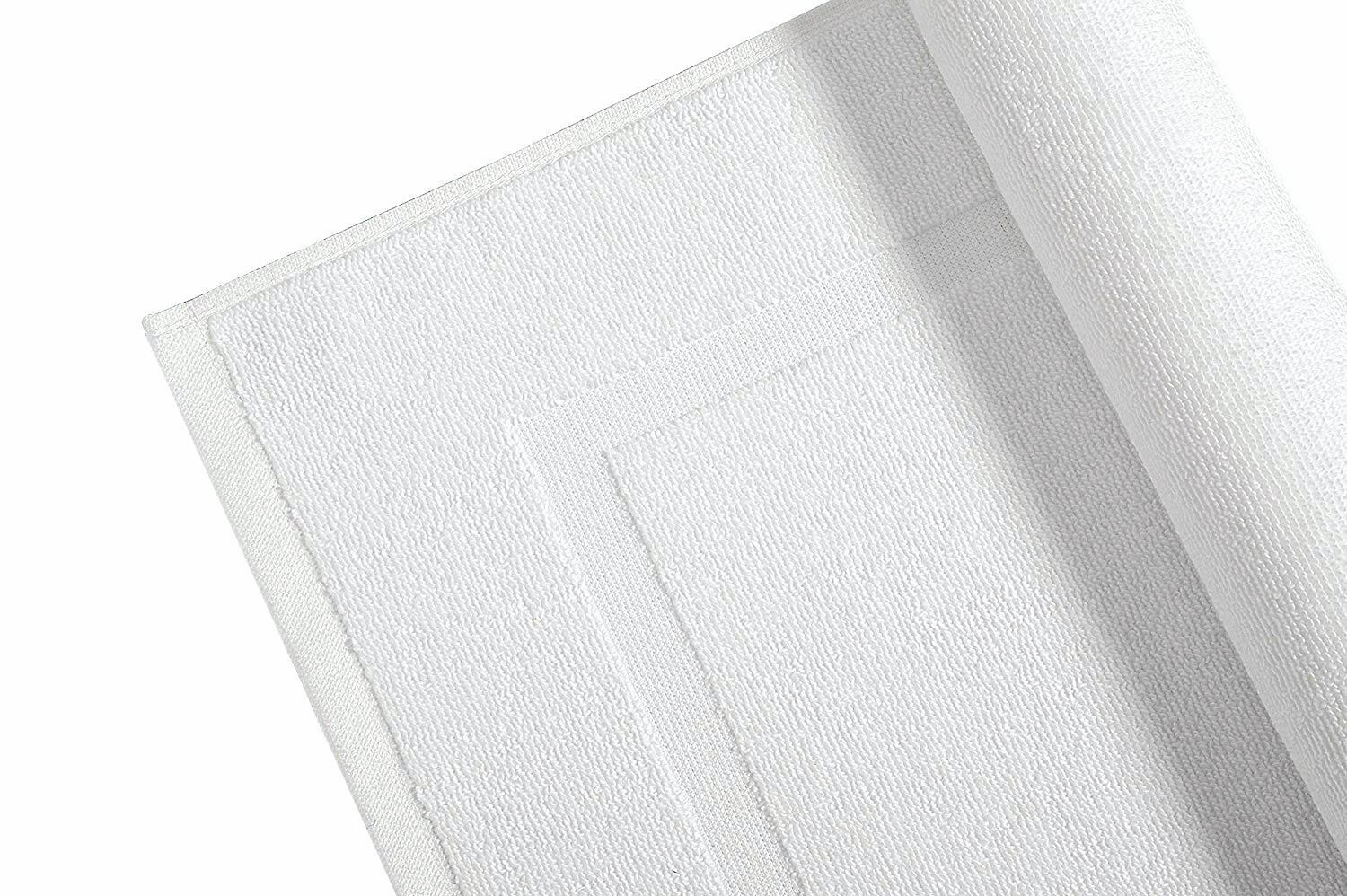 White Bath Mats Terry Towelling 100% Cotton Bathroom Rug 900 GSM Pack Set of 2