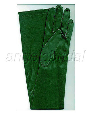 """23"""" FOREST GREEN LONG STRETCH SATIN BRIDAL HALLOWEEN PARTY COSTUME OPERA GLOVES"""