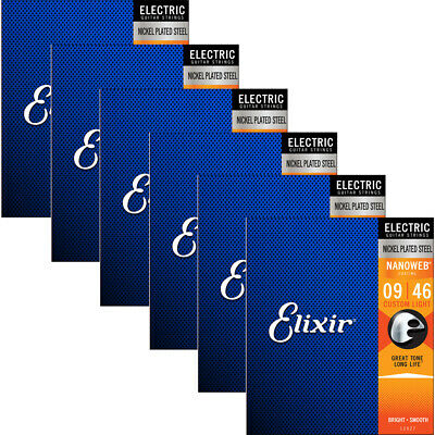elixir 12027 nanoweb custom light coated electric guitar strings 9 46 6 pack 602003592126 ebay. Black Bedroom Furniture Sets. Home Design Ideas