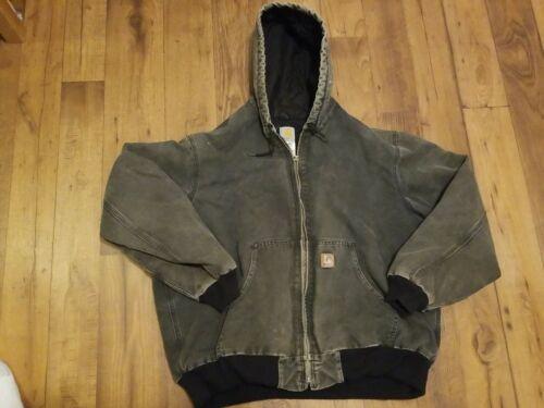 Vintage Mens Carhartt Quilted Jacket Work Hooded G