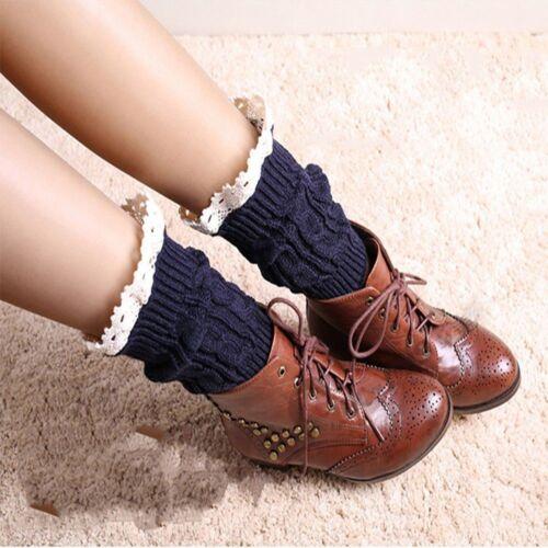Crochet Lace Short Knee Trim Women Cotton Leg Warmers Socks Knit Boot Cover