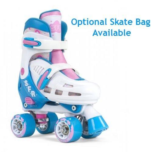 SFR Storm III Adjustable Quad Roller Skates Weiß/Rosa Girls - With Optional Bag