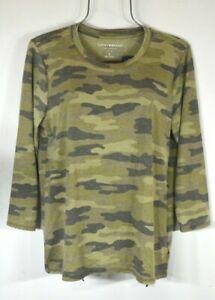 Lucky-Brand-Women-039-s-Fall-Green-Camo-3-4-Sleeve-Top-Blouse-Tee-XL-NWT