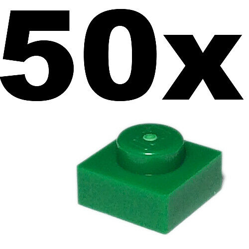 1 x 1 Green plate x 50-1x1 PLATES NEW LEGO