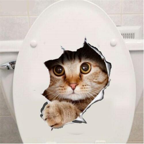 Toilet Seat Lid Sticker Cat Dog Bathroom Decals Tiles Cats Dogs Stickers LP