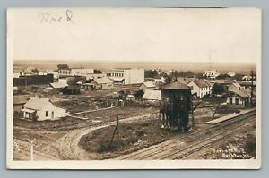 Bushton-KS-Railroad-Depot-amp-Town-View-RPPC-Rice-County-Train-Tracks-Photo-1908