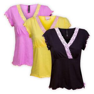 Womens-Ladies-Cotton-Pyjama-Top-Everyday-Cap-Sleeve-Nightshirt-Nightwear-T-shirt