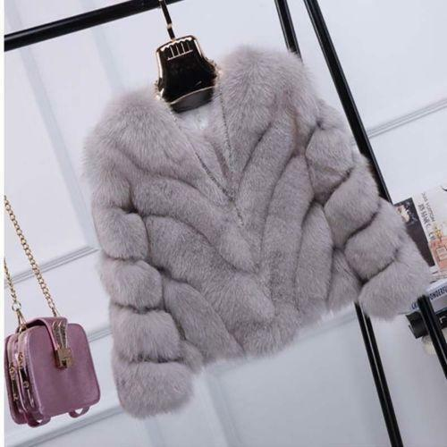 OccidenLuxury Thicken Womens Real Fox Fur Short Overcoat Winter Warm Coat Jacket